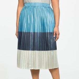 Eloquii Pleated Blue Silver Striped Skirt Size 18